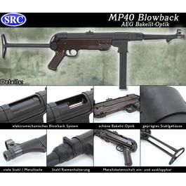 SRC MP40 Softair Bakelit-Optik Vollmetall Blowback AEG