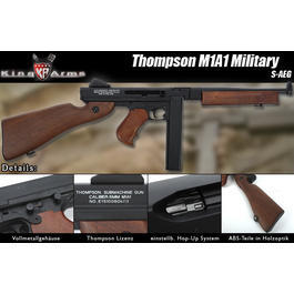 King Arms Thompson M1A1 Military Softair S-AEG Kunststoffschaft