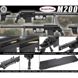 Socom Gear CheyTac M200 Intervention 8mm BB Gas Bolt Action Snipergewehr schwarz