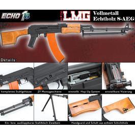 Sportwaffen - Echo1 RedStar LMG Vollmetall Echtholz Komplettset S-AEG