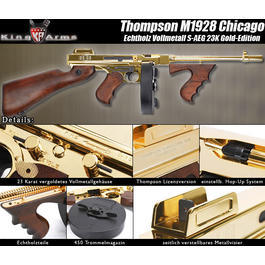 King Arms Thompson M1928 Chicago Softair Echtholz S-AEG 23K Gold-Edition
