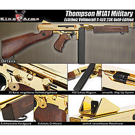 King Arms Thompson M1A1 Military Softair Echtholz S-AEG 23K Gold-Edition