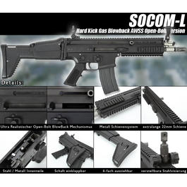 Blowback - Wei-ETech Socom-L Vollmetall AWSS Open-Bolt Gas-Blow-Back schwarz