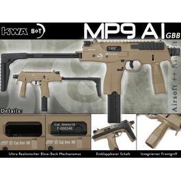 BB Gun - KWA Softair B&T MP9 A1 Gas-Blow-Back (NS2) 6mm BB desert