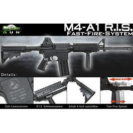 Softair ab 14 - Cybergun Colt M4A1 R.I.S. Fast Fire System Springer 6mm BB