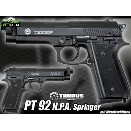 Cybergun Taurus PT92 HPA Softair mit Metallschlitten Springer