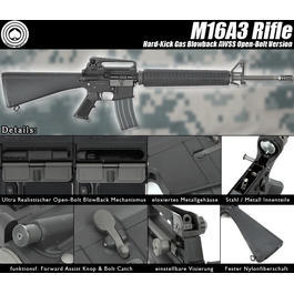 Socom Gear M16A3 Rifle Vollmetall AWSS Open-Bolt Gas-Blow-Back 6mm BB