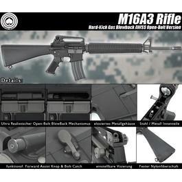 Softair Gun - Socom Gear M16A3 Rifle Vollmetall AWSS Open-Bolt Gas-Blow-Back 6mm BB