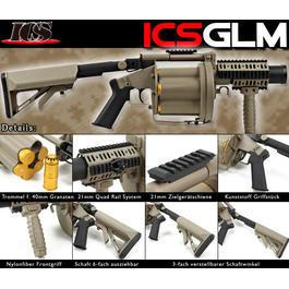CO2 Zubehör - ICS GLM 40mm Revolver-Granatwerfer desert Softair