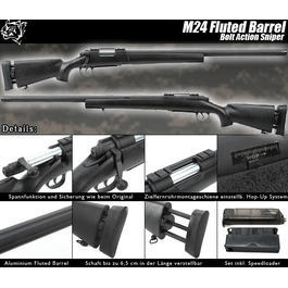 Snow Wolf M24 Fluted Bolt Action Snipergewehr Springer 6mm BB schwarz