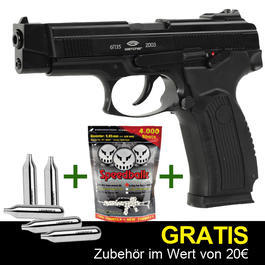 Gletcher Grach-A Vollmetall CO2 BlowBack Softairpistole + GRATIS Zubehör
