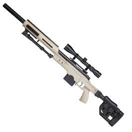 Verkauf Bundeswehr - Well MB4410D MSR Snipergewehr inkl. Zweibein / Zielfernrohr Springer 6mm BB tan