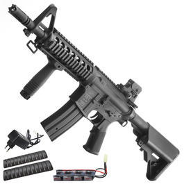 Airsoftwaffen - ASG LMT Defender 4 RIS Carbine Sportline Komplettset S-AEG 6mm BB schwarz