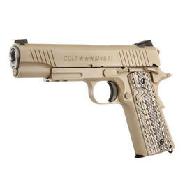 Softair kaufen - Cybergun Colt M45A1 CQBP Rail Vollmetall CO2 BlowBack 6mm BB Desert Tan