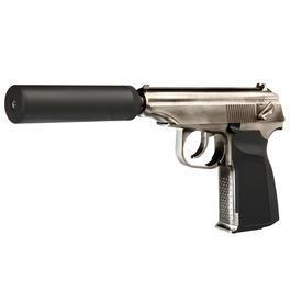 freie Waffen - Wei-ETech PMM Vollmetall GBB 6mm BB silber inkl. Deko-Silencer