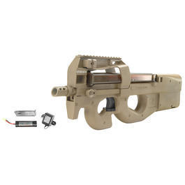 Softair P90 - Jing Gong FN P90 TR Komplettset S-AEG 6mm BB Dark Earth Tan