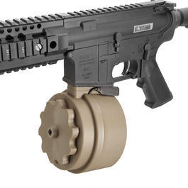 G&P M4 / M16 Attack Type Trommelmagazin 1500 Schuss Flat Dark Earth - elektrisch