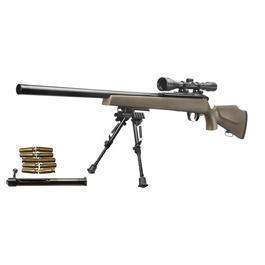 Softair Gewehre - Elite Force SX 9 DB Gas / Springer Snipergewehr inkl. Zweibein / Zielfernrohr 6mm BB FDE