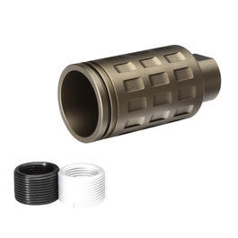 G&P MOTS Checkers Style Aluminium Flash-Hider sand 14mm+ / 14mm-