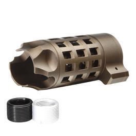 G&P Extended Iron Bars Style Aluminium Flash-Hider sand 14mm+ / 14mm-