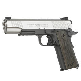 Cybergun Colt 1911 Rail Gun Vollmetall CO2 BlowBack 6mm BB Stainless Dual Tone Version