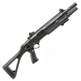 VFC / BO Manufacture Fabarm STF12 Compact 11 Zoll Vollmetall Pump Action Gas Shotgun 6mm BB schwarz