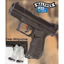 Softair ab 14 - Walther P22 Airsoft Federdruck Pistole Kal. 6mm BBinkl. Ersatzmagazin