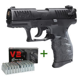 Walther P22 - Walther P22Q Schreckschuss Pistole+ 50 Platzpatronen V2 Nitro Power
