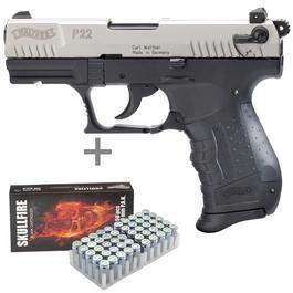 Walther P22 - Walther P22 Schreckschuss Pistolebicolor inkl. 50 Schuss Marken-Platzpatronen