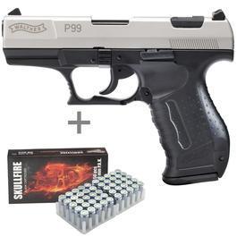 Signalwaffen - Walther P99 Schreckschuss Pistolevernickelt inkl. 50 Schuss Marken-Platzpatronen