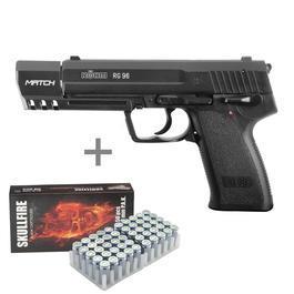 Schreckschußwaffen - Röhm RG96 Match brüniert Schreckschuss Pistole inkl. 50 Schuss Marken-Platzpatronen