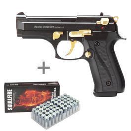 Signalmunition - Ekol Firat Compact Schreckschuss 9mm P.A.K schwarz/goldinkl. 50 Schuss Pobjeda Skullfire