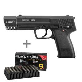Signalwaffen - Röhm RG 96 Match Schreckschuss Pistole 9mm P.A.K. inkl. 50 Schuss Black Mamba Platzpatronen