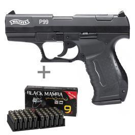 Walther P99 - Walther P99 Schreckschuss Pistole 9mm P.A.K. schwarz inkl. 50 Schuss Black Mamba Platzpatronen