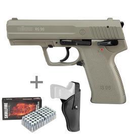 Signalwaffen - Röhm RG96 Schreckschuss Pistole 9mm P.A.K. icon grey inkl. Marken-Platzpatronen u. Holster