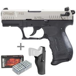 Signalwaffen - Walther P22 Schreckschuss Pistole 9mm P.A.K. vernickelt inkl. Gürtelholster, Marken-Platzpatronen