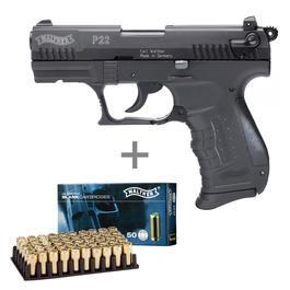 Walther P22 - Walther P22 Schreckschusspistole 9mm P.A.K. brüniert inkl. Walther Platzpatronen