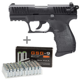 Schreckschußwaffen - Walther P22Q Schreckschusspistole 9mm P.A.K. inkl. 50 Marken-Platzpatronen