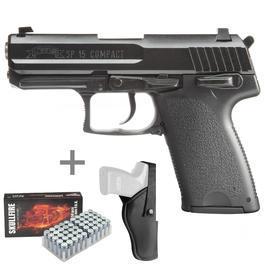 Signalwaffen - ME IWG SP15 Compact Schreckschuss Pistole 9mm P.A.K. brüniert inkl. Holster u. Marken-Platzpatronen