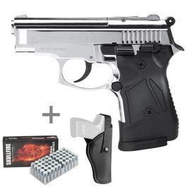 Schreckschußwaffen - Zoraki 914 Schreckschuss Pistole 9mm P.A.K. chrom inkl. Holster u. Marken-Platzpatronen