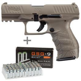 Signalwaffen - Walther PPQ M2 Schreckschuss Pistole 9mm P.A.K. FDE inkl. Marken-Platzpatronen