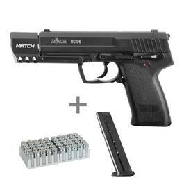 Röhm RG96 Match Schreckschusspistole 9mm P.A.K. brüniert inkl. Ersatzmagazin, Munition