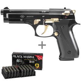 Signalwaffen - Ekol Firat Magnum Schreckschusspistole 9mm P.A.K.schwarz/gold inkl. 50 Schuss Marken-Knallpatronen