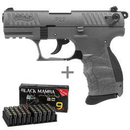 Walther P22 - Walther P22Q Schreckschusspistole 9mm P.A.K. Tungsten Gray inkl. 50 Schuss Marken-Knallpatronen