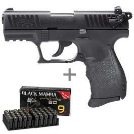 Walther P22 - Walther P22Q Schreckschusspistole 9mm P.A.K. brüniert inkl. 50 Schuss Marken-Knallpatronen