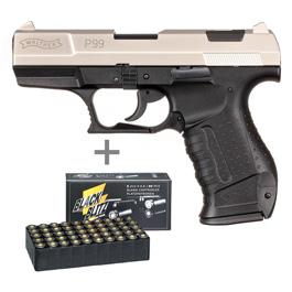 Walther P99 Schreckschuss Pistole 9 mm P.A.K. vernickelt + 50 Schuss Black Blitz Platzpatronen