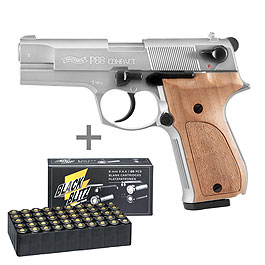Walther P88 Schreckschuss Pistole Kal. 9mm P.A.K. nickel/Holz + 50 Schuss Pobjeda Black Blitz