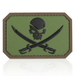 3D Rubber Patch Mil-Spec Monkey Pirate Skull Forest