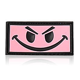 3D Rubber Patch Evil Smiley pink
