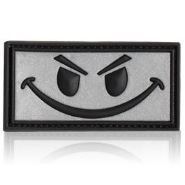 3D Rubber Patch Evil Smiley silber